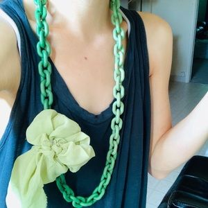 Green Fabric Flower Necklace